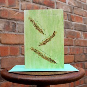 Greeting Cards- Feathers with Hebrew